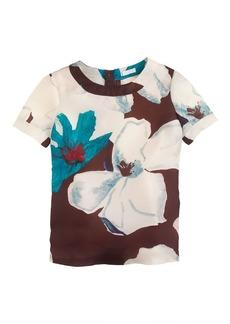 Collection silk gazar top in overblown floral