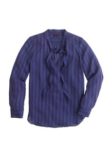 Collection silk secretary blouse in pinstripe