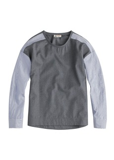 Collection wool top with stripe Thomas Mason® sleeves