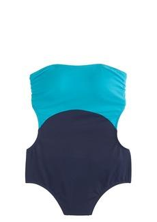 Colorblock cutout halter one-piece swimsuit