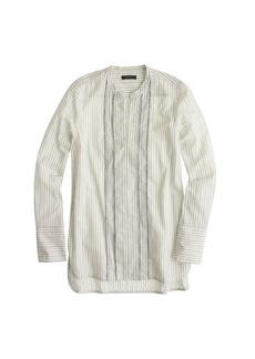 Corded popover tunic in grey stripe