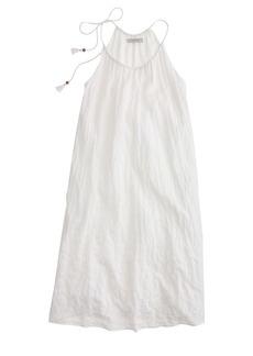 Crinkled shoulder-tie tank dress