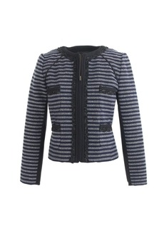 Cropped jacket in stripe tweed