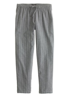 Cropped pajama pant in pinstripe flannel