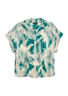 Cropped silk popover shirt in tropical fern