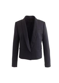 Cropped wool piqué tuxedo jacket
