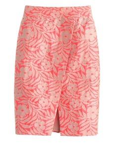 Crossover pencil skirt in plumeria jacquard