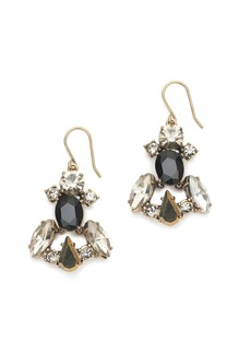 Crystal and stone row earrings