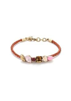 Crystal foliage plaited leather bracelet