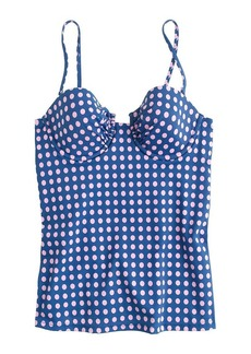 D-cup grid dot ruched underwire swing top
