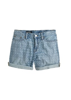 Denim short in laser dot