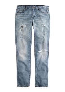 Destroyed broken-in boyfriend jean in light roxy wash