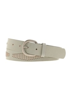 Diamond-stitched leather belt
