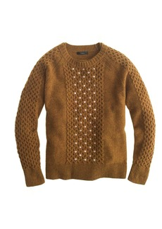 Embellished honeycomb cable sweater