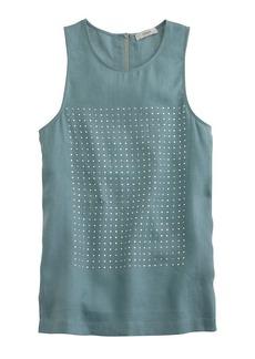 Embellished linen tank top