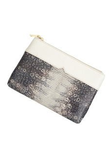 Embossed leather pouch