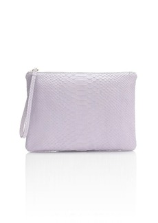 Embossed python leather clutch