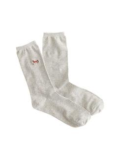 Embroidered fox trouser socks