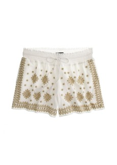 Embroidered mosaic pull-on short