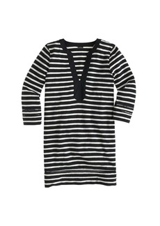 Embroidered three-quarter sleeve beach tunic in stripe