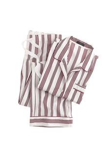 End-on-end pajama set in burgundy stripe