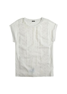 Eyelet-front linen tee