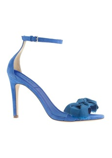 Fabric bow suede high-heel sandals