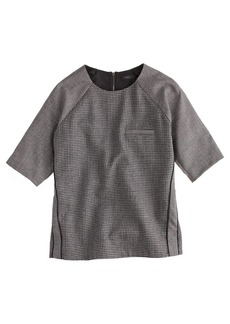 Flannel raglan top in houndstooth
