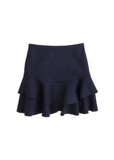 Flounce skirt in bonded wool