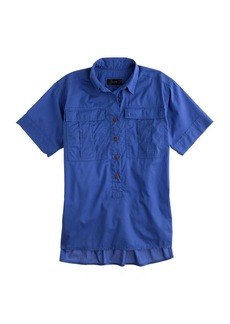 Garment-dyed military popover shirt in sapphire