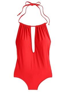 Gathered halter one-piece swimsuit