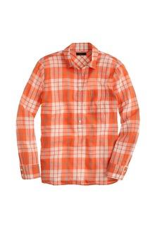 Gauzy popover shirt in orange plaid