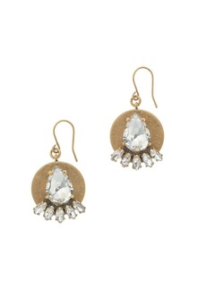 Golden plate and crystal earrings
