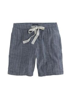 Indigo-striped drawstring short