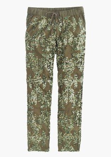 Iridescent sequin pull-on pant