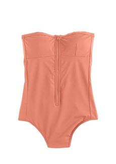 Italian matte bandeau zip one-piece swimsuit
