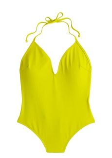 Italian matte deep V-halter one-piece swimsuit
