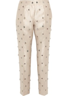 J.Crew Collection embellished shantung straight-leg pants