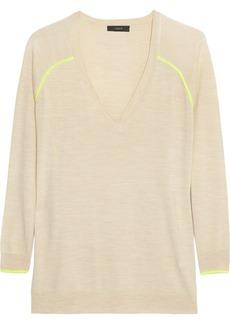 J.Crew Neon-piped merino wool sweater