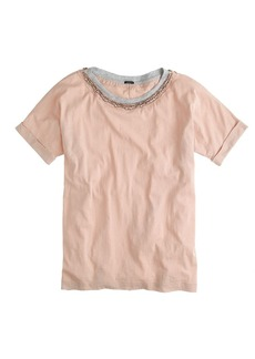 Jeweled roll-sleeve tee