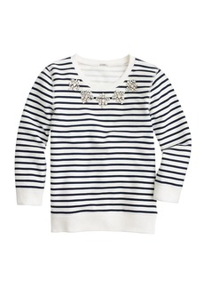 Jeweled sweatshirt in stripe