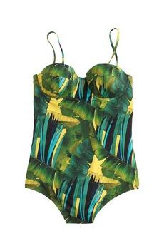 Jungle print underwire one-piece swimsuit