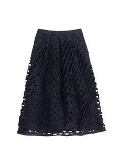 Laser-cut circle midi skirt