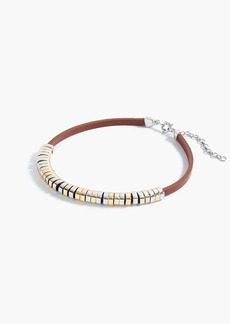 Leather cord metallic ring collar necklace
