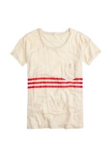 Linen tee in triple stripe