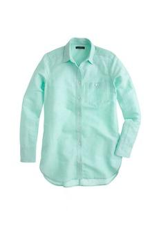 Long cotton-linen boy shirt in crosshatch