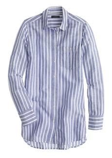 Long cotton-linen boy shirt in stripe