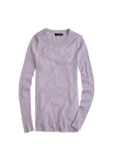 Long merino wool ribbed sweater