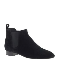 Low suede pull-on boots