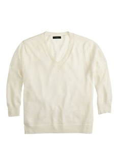 Marled linen V-neck sweater